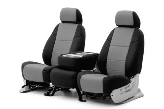 Coverking® CSC2A3TT7435 - 1st Row Neosupreme Custom Gray Seat Covers with Black Sides