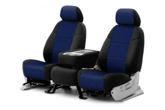 Coverking® CSC2A9FD8092 - 1st Row Neosupreme Custom Navy Blue Seat Covers with Black Sides