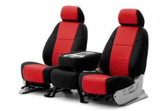 Coverking® CSC2A7PN7294 - 1st Row Neosupreme Custom Red Seat Covers with Black Sides