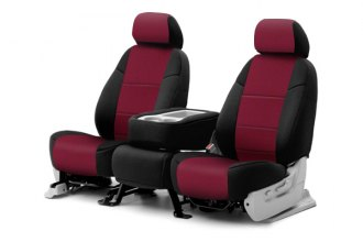 Coverking® CSC2AWSU9381 - 1st Row Neosupreme Custom Wine Seat Covers with Black Sides