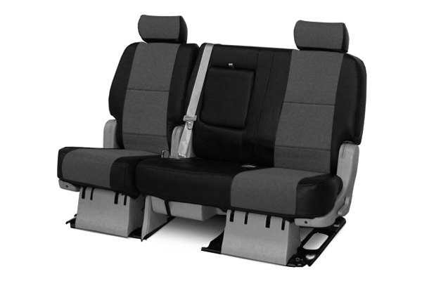 Coverking® - 2nd Row Premium Leatherette Custom Charcoal Gray Seat Covers with Black Sides