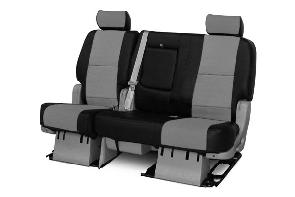 Coverking® - 2nd Row Premium Leatherette Custom Light Gray Seat Covers with Black Sides