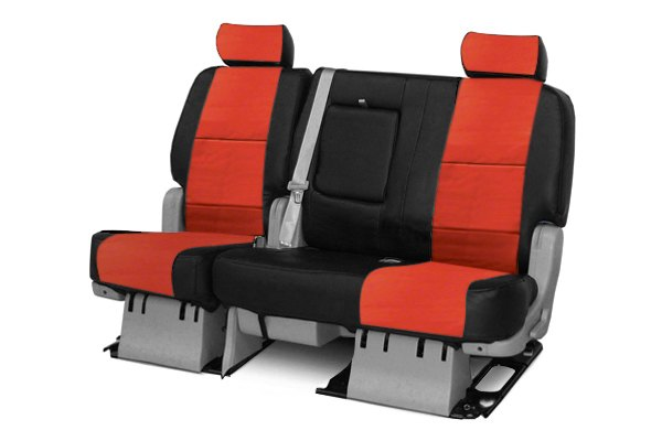 Coverking® - 2nd Row Premium Leatherette Custom Red Seat Covers with Black Sides