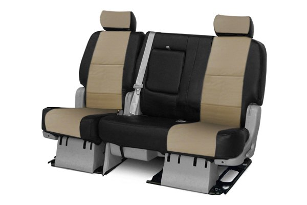Coverking® - 2nd Row Premium Leatherette Custom Taupe Seat Covers with Black Sides