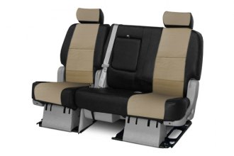 Coverking® CSCQ16HD9400 - 2nd Row Premium Leatherette Custom Taupe Seat Covers with Black Sides