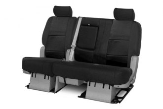 Coverking® CSCQ1DG7056 - 2nd Row Premium Leatherette Custom Solid Black Seat Covers