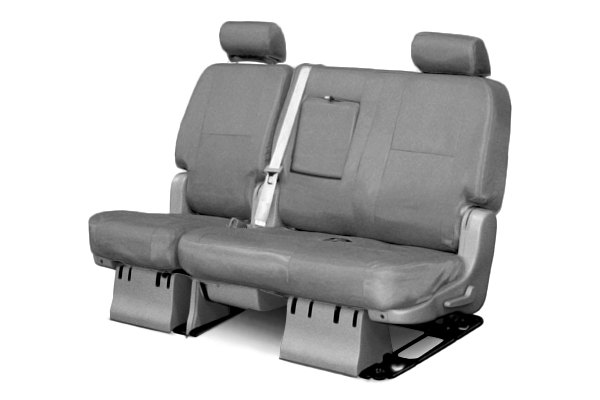 Coverking® - 2nd Row Premium Leatherette Custom Solid Light Gray Seat Covers