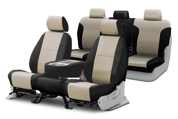 Coverking® - Premium Leatherette Custom Cashmere Seat Covers with Black Sides