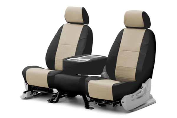 Coverking® - 1st Row Premium Leatherette Custom Cashmere Seat Covers with Black Sides