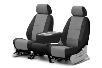 Coverking® CSCQ13CH8604 - 1st Row Premium Leatherette Custom Light Gray Seat Covers with Black Sides