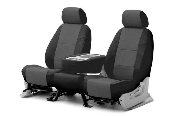 Coverking® - 1st Row Premium Leatherette Custom Medium Gray Seat Covers with Black Sides
