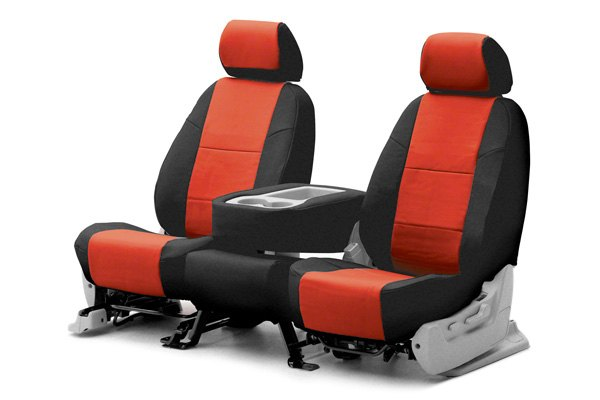 Coverking® - 1st Row Premium Leatherette Custom Red Seat Covers with Black Sides