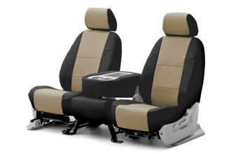 Coverking® CSCQ16SU9344 - 1st Row Premium Leatherette Custom Taupe Seat Covers with Black Sides