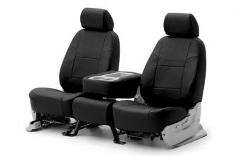 Coverking® CSCQ1FD9543 - 1st Row Premium Leatherette Custom Solid Black Seat Covers