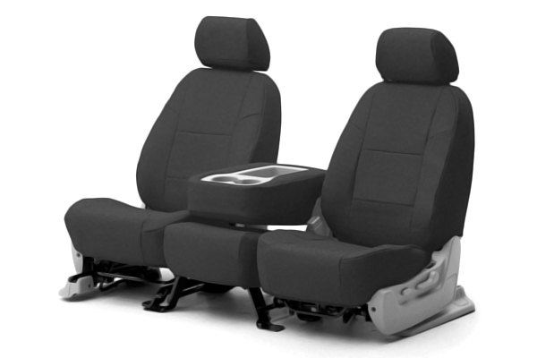 Coverking® - 1st Row Premium Leatherette Custom Solid Charcoal Gray Seat Covers