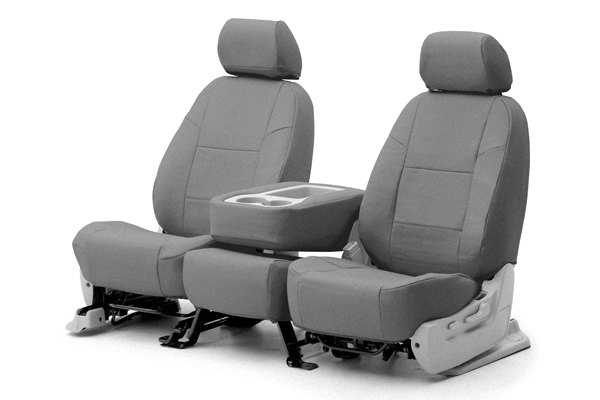 Coverking® - 1st Row Premium Leatherette Custom Solid Light Gray Seat Covers