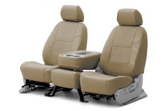 Coverking® CSCQ6TT7126 - 1st Row Premium Leatherette Custom Solid Taupe Seat Covers