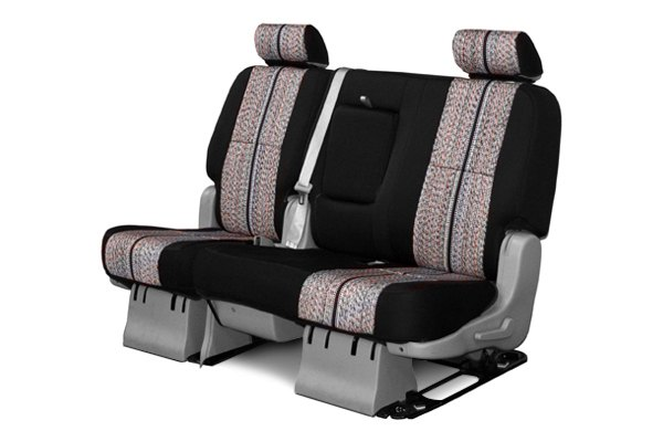 Coverking® - 2nd Row Saddleblanket Custom Black Seat Covers with Neosupreme Black Sides