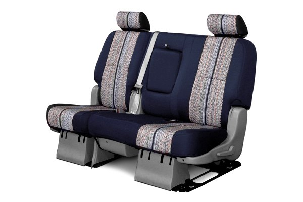 Coverking® - 2nd Row Saddleblanket Custom Dark Blue Seat Covers with Neosupreme Navy Blue Sides