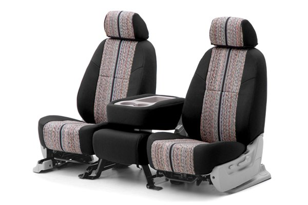 Coverking® - 1st Row Saddleblanket Custom Black Seat Covers with Neosupreme Black Sides