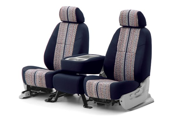 Coverking® - 1st Row Saddleblanket Custom Dark Blue Seat Covers with Neosupreme Navy Blue Sides