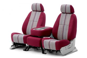 Coverking® CSC1D6SR7050 - 1st Row Saddleblanket Custom Wine Seat Covers with Neosupreme Wine Sides (Sedan)