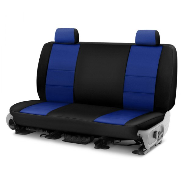 Image may not reflect your exact vehicle! Coverking® - Neosupreme 2nd Row Black & Tan Custom Seat Cover