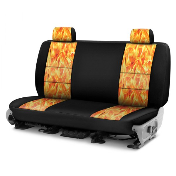 Coverking® - Neosupreme 2nd Row Black & Flame Custom Seat Cover