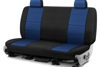 Image may not reflect your exact vehicle! Coverking® - Spacer Mesh 2nd Row Black & Blue Custom Seat Cover