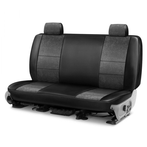Image may not reflect your exact vehicle! Coverking® - Alcantara 1st Row Black & Charcoal Custom Seat Cover