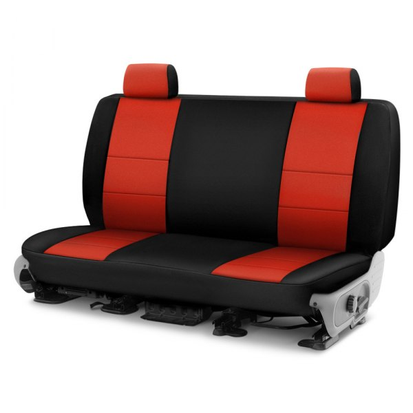 Image may not reflect your exact vehicle! Coverking® - CR-Grade Neoprene 2nd Row Black & Inferno Orange Custom Seat Cover
