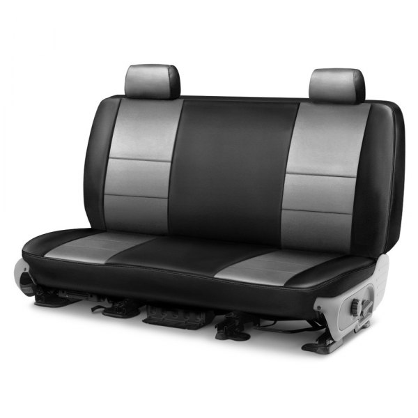 Image may not reflect your exact vehicle! Coverking® - Leatherette 1st Row Black & Light Gray Custom Seat Cover