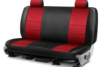 Coverking® - Premium Leatherette 2nd Row Black & Red Custom Seat Cover