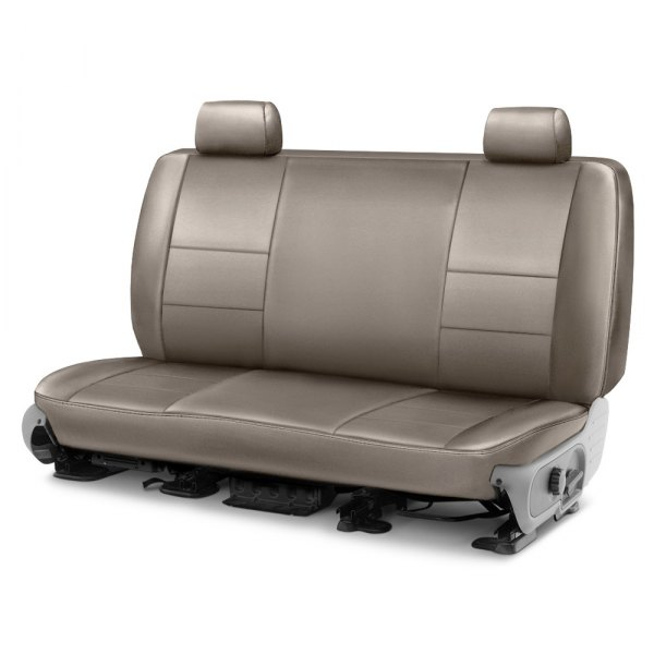 Image may not reflect your exact vehicle! Coverking® - Leatherette 1st Row Taupe Custom Seat Cover