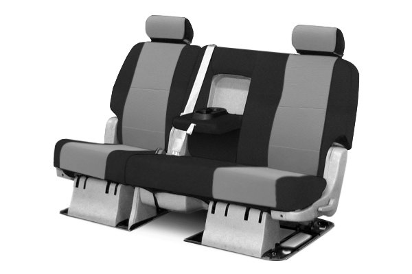 Coverking® - 2nd Row Spacer Mesh Custom Gray Seat Covers with Black Sides