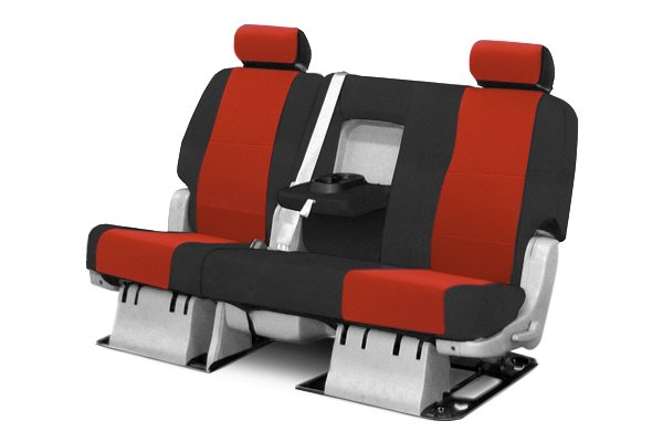 Coverking® - 2nd Row Spacer Mesh Custom Red Seat Covers with Black Sides