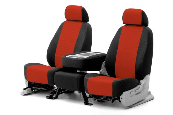 Coverking® - 1st Row Spacer Mesh Custom Red Seat Covers with Black Sides
