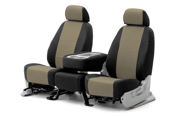 Coverking® - 1st Row Spacer Mesh Custom Taupe Seat Covers with Black Sides