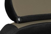 Coverking® - Spacer Mesh Custom Taupe Seat Headrest Cover with Black Sides