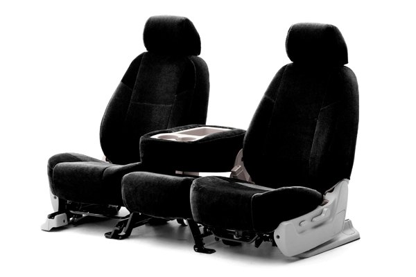 Coverking® - 1st Row Suede Custom Black Seat Covers