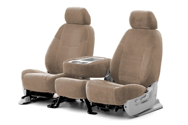 Coverking® - 1st Row Velour Custom Beige Seat Covers