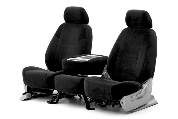 Coverking® - 1st Row Velour Custom Black Seat Covers