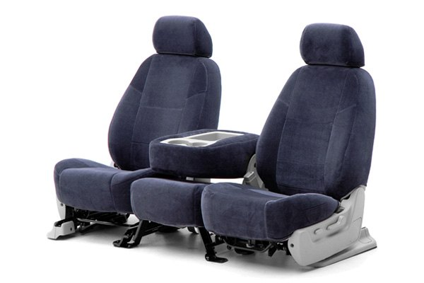 Coverking® - 1st Row Velour Custom Dark Blue Seat Covers