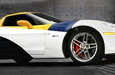 CRAY® - BRICKYARD Silver with Mirror Cut Face on Chevy Corvette - Side View