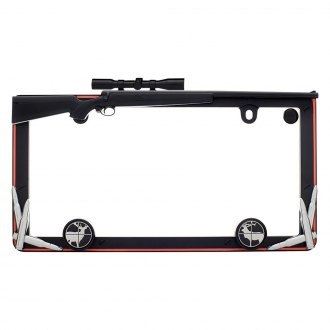 Cruiser® - Hunting Style Matte Black / Orange License Plate Frame with Fastener Caps