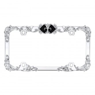 Cruiser® - Fleur de Lis Style Chrome / Black License Plate Frame