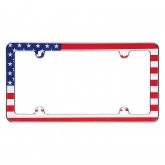 Cruiser® - USA Flag Style Chrome License Plate Frame