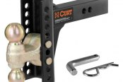 "CURT® - Gloss Black Powdercoated 6"" Drop Channel-Style Adjustable Dual Ball Mount"