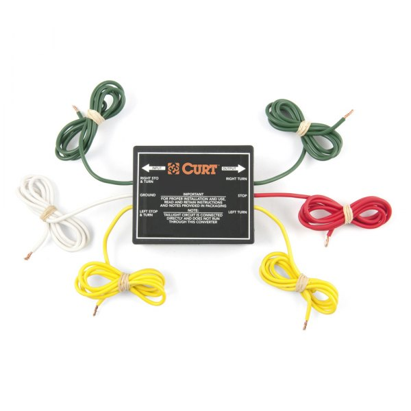 CURT® - 3-wire System to 2-wire System Tail Light Converter Kit, 2.1 Amp Turn/Brake, 5 Amp Taillight with Wiring Kit