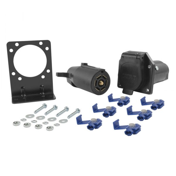 CURT® - Plastic 7-Way Round RV Blade Wiring Connector Kit Includes Bracket